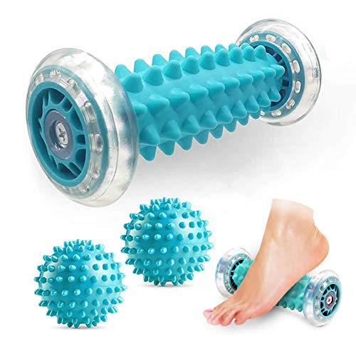 JAZZAIR Foot Massage Roller and Spiky Massage Ball Set for Plantar Fasciitis Relief, Heel Foot Arch...