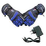 PROKTH Guantes calefactables con bateria para Hombres y Mujeres - Guantes calefactables de Invierno para Motos, esquí, montañismo, Ciclismo, Camping, Pesca - Azul - M - 1set