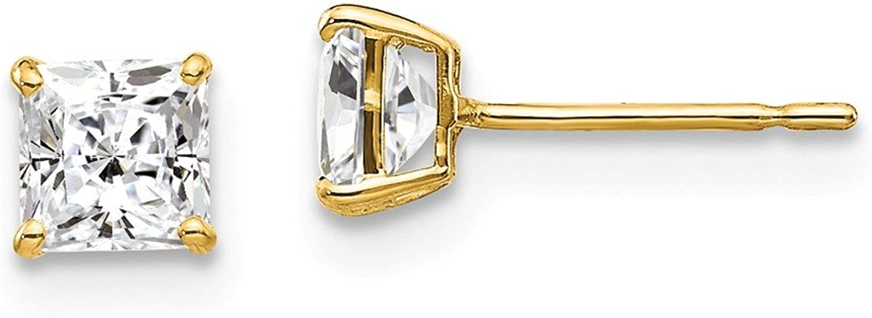 Beautiful Yellow gold 14K Yellowgold 14k 4mm Square CZ Post Earrings