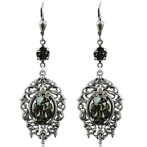 Jugendstil Ohrringe mit Kristallen von Swarovski® Grau Silber Black NOBEL SCHMUCK