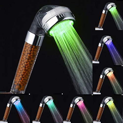 HJRUIUA Alcachofa de Ducha LED con Iones Filtro, Cambiando LED 7 Colores Automáticamente, Cabezal de Ducha Ionica de Mano, 200% Alta Presión 30% Ahorro de Agua para Baños, No Necesita Pilas