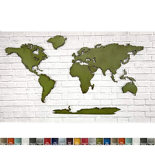 "World Map - Metal Wall Art Home Decor - 30"" tall x 50"" wide - 7 Continents - Handmade - Choose your Patina Color - and Choose From 50"", 60"" or 72"" Wide Map - With or Without Antarctica"
