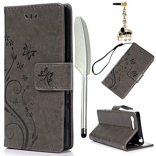 YOKIRIN Sony Xperia X Compact Lederhülle Hülle Hülle für Sony Xperia XCompact Flipcase Tasche Handyhülle Etui Schmetterling Muster PU Leder Schutzhülle Kartenfächer Magnetverschluss Cover Grau