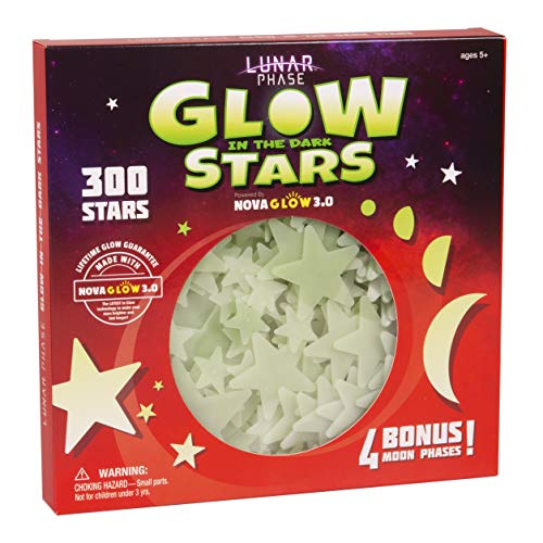 Glow in The Dark Stars for Ceiling; 300 Count with 4 Bonus Moon Phases; Full - 1-8 Moons; Lunar...