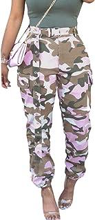 Donna Multi Pocket Inviare Cintura Camuffamento Piccoli Piedi Pantaloni Moda vestibilità Slim Lungo Pantaloni Rosa/Giallo/...