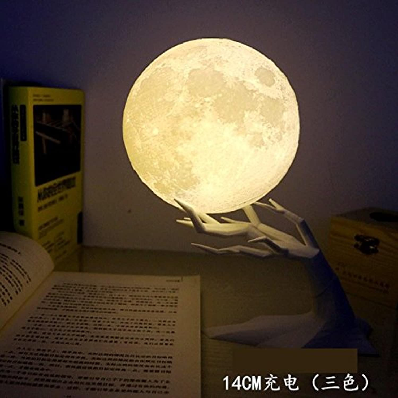 HONGLIMoon Lampe, 3D-Druck Mondlampe, Bett Nacht Schlafzimmer kreative Nachtlicht, romantisches Geschenk für Freundin Freund, charge 14cm (huang bainuan triFarbe branch)
