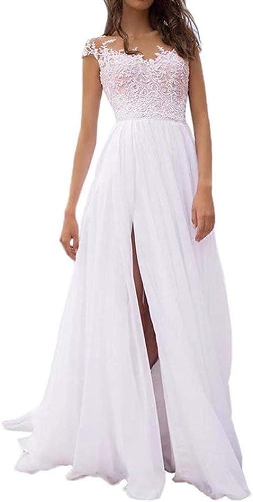 Wedding Oakland Mall Dress Cap Sleeve Bridal Split Dresses Gown Long Superior