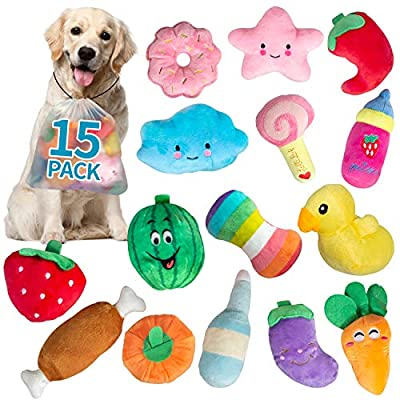 SOKUTOM 15 Pack Puppy Toys, Dog Squeaky Toys Cu...