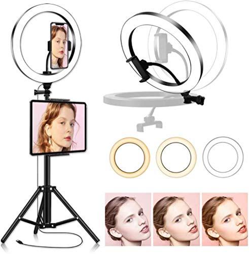 10 inch LED-ringlicht met statief en tablet-telefoonhouder Ringlampstandaard 5600K voor YouTube Zelfportretopname Make-up portretfotografie