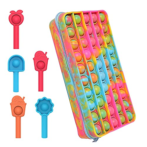Pop Bubble Pencil Case Silicon Simple Fidget Bag, Mini Pop Keychain Bubble...