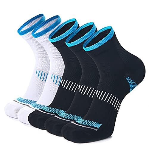 Weekend Peninsula 5 paia di Calze Running Sportive Compressione Leggera Uomo Donne, Calzini Running Sportivi Uomo Donne (L, 3x Nero+ 2x Bianco)