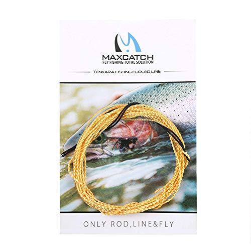 MAXIMUMCATCH Angelschnur Tenkara Schnur, Geflochtene Nylon-Schnur in 11/12/13 FT, 3 Farbe (Gold, 12ft)