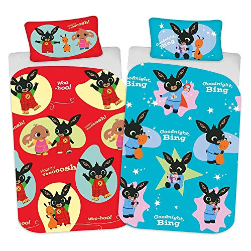 Bing Bunny Hoppity Voosh Junior-Bettbezug für Kinderbett, wendbares Design, Polycotton