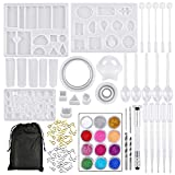 BUYGOO 94Pcs Resin Molds Silicone Casting Molds, Silicone Resin Molds for DIY Jewelry Craft Making Epoxy Resin Mold Bracelet Pendant Sphere