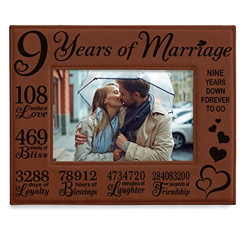 KATE POSH 9th Wedding Anniversary, 9 Year Anniversary, 9 Years of Marriage, Husband & Wife, Boyfriend & Girlfriend, Gifts for Couple - Engraved Leather Picture Frame (4