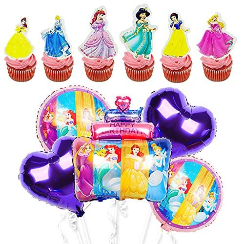 BESTZY Princesa Decoración para Tarta Princesa Disney Cumpleaños Globo Cake Topper Suministros para Fiestas Adornos para Tarta Princesas Cumpleaños de Fiesta Globos de Látex 29 Piezas