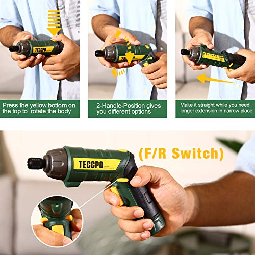 Cordless Screwdriver, 45Pcs 6Nm TECCPO Electric Screwdriver, 4V 2000mAh Li-ion, 9+1 Torque Gears, Self-lock Chuck, 2 LED Lights, Adjustable 2 Position - TDSC01P