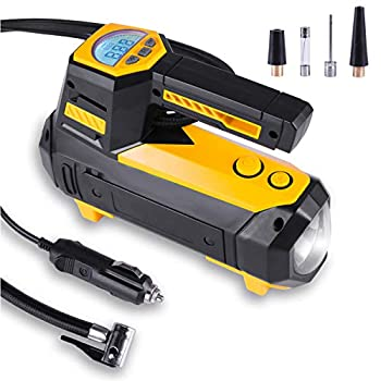 LivTee 12V DC Digital Auto Tire Inflator Accessories Portable Air Compressor Pump Auto Shut-Off with Emergency LED Flasher Long Cable for Car Bicycle Motocycle Air Boat and Other Inflatables