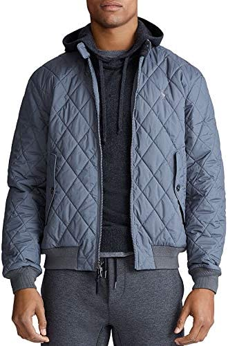 POLO RALPH LAUREN Quilted Bomber Jacket In Combat Gray Size