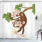 Cortina de ducha de dibujos animados, mono gracioso colgando del árbol y sosteniendo el tema del tema de los animales de la selva del plátano, conjunto de decoración de baño de tela de tela con gancho