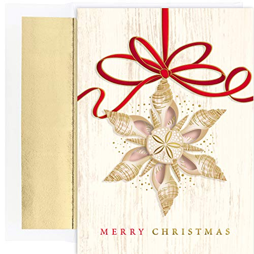 Masterpiece Studios Masterpiece Warmest Wishes 18-Count Christmas Cards, Shell Ornament (918900)