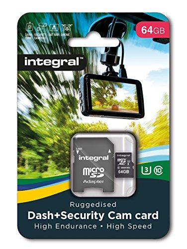 Integral - Micro SD XC 64Go, Carte Mémoire Haute Endurance pour Dashcam Enregistreur de Conduite, jusqu'à 95Mb/s, Classe 10, U3 + Adaptateur SD