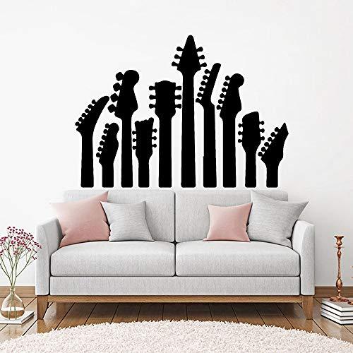 JXFM Rock Pop Gitaar Vinyl familie muursticker, muziek gitaar instrument muursticker gitaar decoratie schild 59 x 42 cm