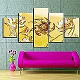 GUANGWEI Stampa Su Tela Poster HD 5 Combinazione Di Dipinti Appesi Pittura Cinese D'Epoca Cornice Da Disegno del Paesaggio del Regalo Decorativo Di Arte Della Parete Della Famiglia