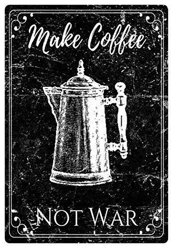 Metalen bord 20x30cm Make Coffee Not War Koffie Cafe Bar Barista metalen bord