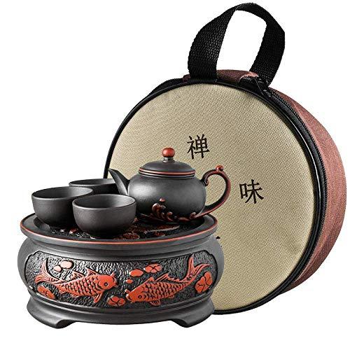 WMYATING Servizio da tè Servizio da tè Lancio di Un Nuovo p Teiera di Argilla, Set da tè, tè Kung Fu, Regalo Portatile, preparare Il tè, Set di Viaggi, Ceramica, Auto Viaggio-Nero B (Color : Black a)