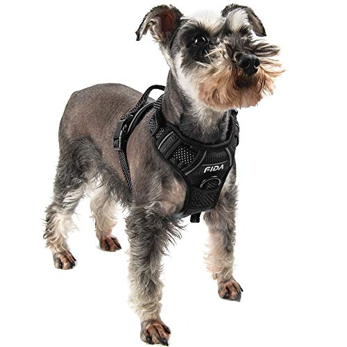 Fida Dog Harness Full Reflective Design, No-Pull Pet Vest Harness with 2 Leash Clips, Adjustable Soft Padded with Easy Control Handle for Small Dogs(S, Black)