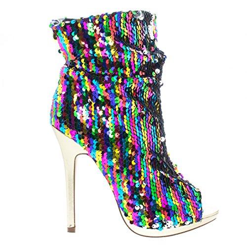 Liliana Maxim-12 Multi Color Sequins Peep Toe High Heel Above Ankle Bootie,Rainbow,10