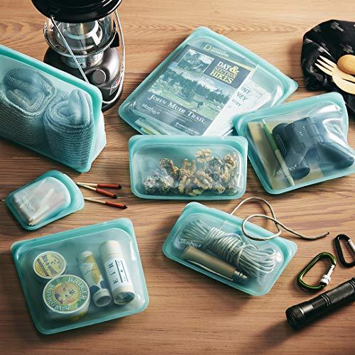 Stasher 100% Silicone Food Grade Reusable Storage Bag, Aqua (2 Sandwich + Snack + 1/2 Gallon) | Plastic Free Bag | Sous Vide, or Freeze | Leakproof, Dishwasher-Safe, Eco-friendly, Non-Toxic