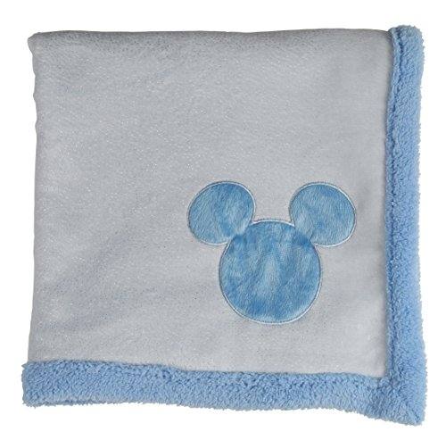 Disney Mickey Mouse Double Sided Infant Blanket, Printed Glitter on Mink and Sherpa backing