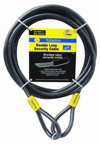 Sterling 124C - Cable de Seguridad de Bucle Doble autoenroscable (Recubrimiento de Vinilo, 12 mm x 4,5 m)