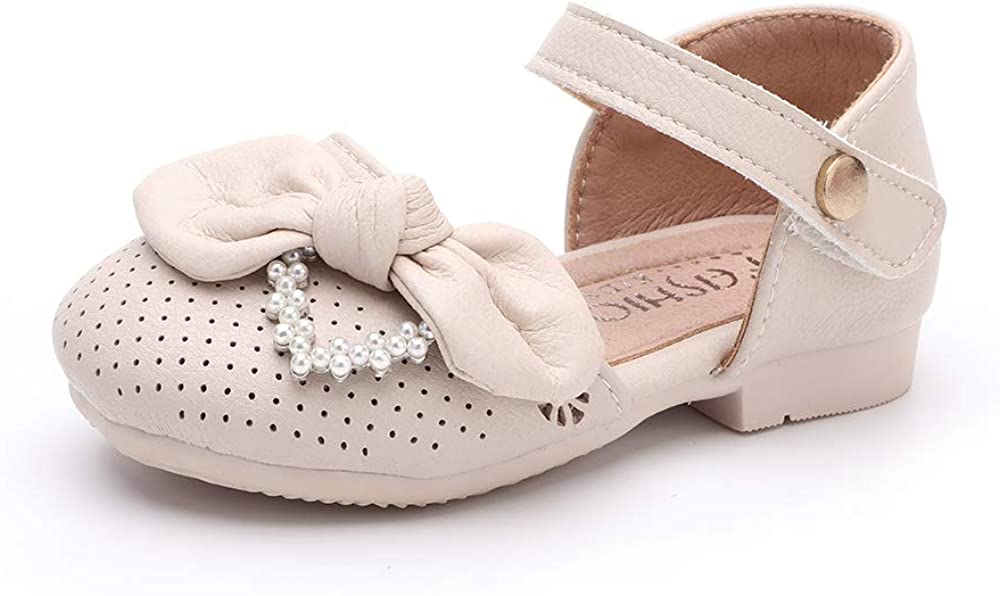 peggy piggy Toddler Girls Soft Genuine Leather Flower Bow Mary Jane Dress Shoes
