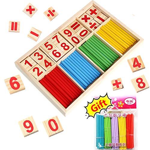 BETOY Caja de Matemáticas, Stick de Madera de Juguete Juguetes Educativos Juegos Matematicos para Niños Número Madera y Palillos con Caja