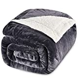 JinJeeo Sherpa Fleece Blanket Lightweight Super Soft Cozy Ultra Luxurious Plush Bed Blankets Washable Warm Furry Throw Blanket for Couch Sofa Chair Home Decor 90' x 90'