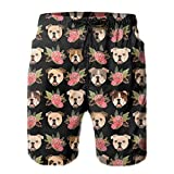 Kimisoy Beach Shorts for Men Bull Dog with Pink Flowers Casual...
