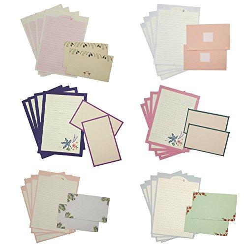 MinniLove 封筒 便箋 手紙セット 挨拶の手紙 (花柄6種類入り)