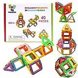 BrightyBright Magnetic Blocks Building Toys - Intelligent 3D STEM Educational Game for Kids Toddlers Boys Girls Construction Magnet Tiles Set 40 Pc - Best Gifts for Kids