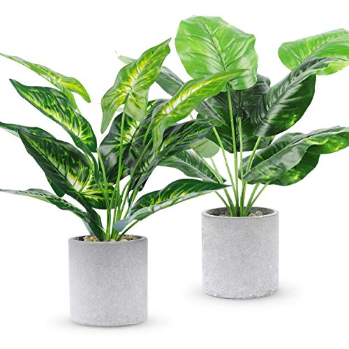WUKOKU 2pcs Fake Plants Small Artificial Potted Plants Office Plants