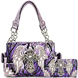 Zelris Camouflage Shine Glow Cross Wings Women Conceal Carry Handbag with Wallet (Lavender)