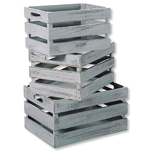 KESPER 91671 Aufbewahrungsboxen 3er Set/Dekokisten aus Paulowinaholz, Antik grau/Holzkisten
