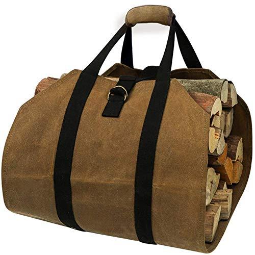 Große Leinwand-Log-Einkaufstasche Trägerinnenfeuerholz Totes Kaminofen Zubehör, extra große Holzständer mit Griffen