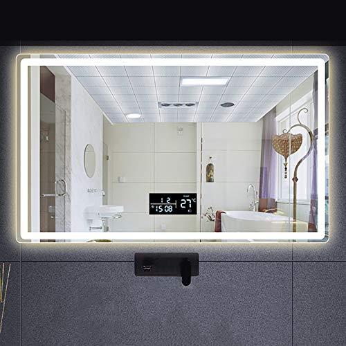 GETZ Espejo de Baño con Iluminación LED, Luz Espejo de Pared con Accesorios, Espejo de Maquillaje con Función de Atenuación e Interruptor de Sensor Táctil, 3 Colores de Luz, IP44