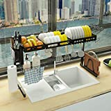 ADBIU Over The Sink Dish Drying Rack (30' ≤ Sink Width≤ 38.5') Kitchen Dish Rack and Drainboard Set Stainless Steel Storage Rack (Black, Expandable Size)