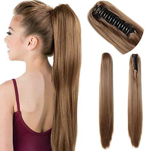 Extensiones de pelo grueso y recto sintético de 53,3 cm de largo con pinza de cola de caballo para mujeres con una mandíbula garra marrón claro