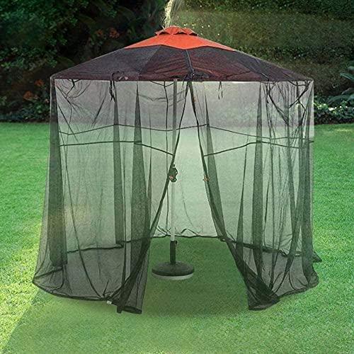 Patio Insecto Red para Cenador, Funda para Sombrilla Mosquitera para Sombrillas Jardín con Cremallera, para Jardín Camping Al Aire Libre (Negro)