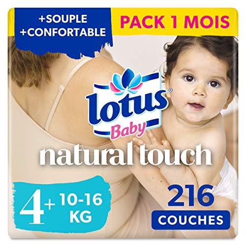 Lotus Baby Natural Touch - Couches Taille 4+ (10-16 kg) - lot de 6 paquets de 36 couches (216 Couches en totale)